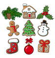 glazed homemade christmas gingerbread cookies vector image