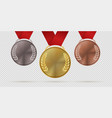 gold silver and bronze trophy medals first vector image vector image