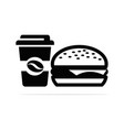 hamburgers and coffee icon concept vector image