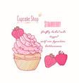 hand drawn cupcake strawberry flavor vector image vector image