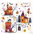 happy halloween holiday in autumn houses with vector image