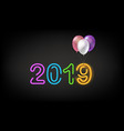 happy new 2019 year concept on dark background vector image