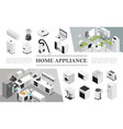 isometric home appliances composition vector image vector image