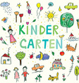 Kindergarten banner with funny kids drawing vector image vector image