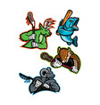 lacrosse and baseball sports mascot collection vector image