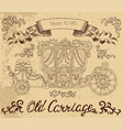 line art with vintage carriage vector image vector image