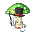 magician green amanita mushroom mascot cartoon vector image vector image