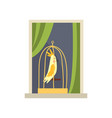 metal cage with yellow tropical bird on windowsill vector image vector image