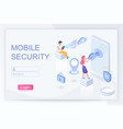 mobile security and privacy isometric landing page vector image