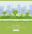 modern city park landing page green trees vector image vector image