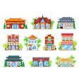 national cuisine restaurants building icons vector image