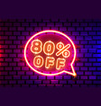 neon chat frame 80 off text banner night sign vector image vector image