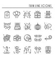 party celebration thin line icons set birthday vector image vector image