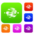 planet and moons set color collection vector image vector image