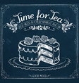retro poster time for tea with cake vector image vector image