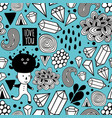 seamless pattern with strange creatures in doodle vector image vector image