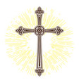 silhouette of ornate cross with sun lights happy vector image vector image