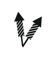 simple black icon fireworks rocket on white vector image