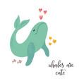 sweet design with cute whale nursery art print vector image