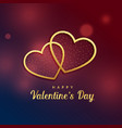 two golden hearts love valentines day design vector image vector image