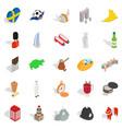 Western europe icons set isometric style