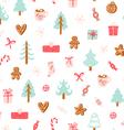 Winter holidays symbols seamless pattern vector image