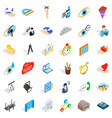 work time icons set isometric style vector image vector image