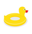 yellow rubber duck swimming circle vector image vector image