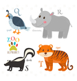 Zoo alphabet with funny cartoon animals Q r s t vector image vector image