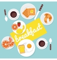Breakfast food and drinks in flat style vector image