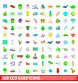 100 eco care icons set cartoon style vector image vector image
