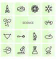 14 science icons vector image vector image