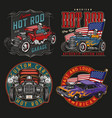 american custom cars colorful vintage labels vector image vector image