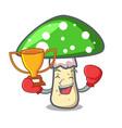 boxing winner green amanita mushroom mascot vector image vector image