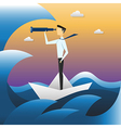 Businessman on boat watching through telescope vector image vector image