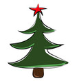 christmas tree with star on white background vector image vector image