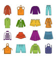 clothes icon set color outline style vector image vector image