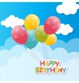 Color Glossy Balloons Against Blu Sky Background