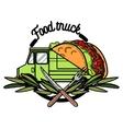 Color vintage Food truck emblem vector image vector image