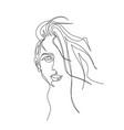 continuous one line portrait woman vector image vector image