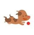 Cute Doggy play and running with red ball vector image vector image