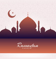 eid mubarak mosque silhouette background vector image vector image