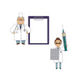 funny doctor with giant patient chart and syringe vector image vector image