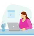 girl sitting in office and working on laptop vector image vector image