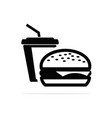 hamburgers and water icon concept vector image
