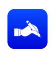 hand holding black pen icon digital blue vector image