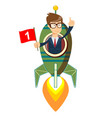 happy businessman with number one flag on a rocket vector image