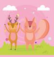 happy cute squirrel and deer in field cartoon vector image