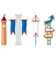 isolated ojbects with flag and arrow vector image vector image