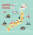 japan landmark icons map for traveling vector image vector image